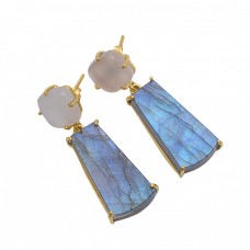 925 Sterling Silver Jewelry Square Rectangle Shape  Moonstone  Labradorite  Gemstone Gold Plated Earrings