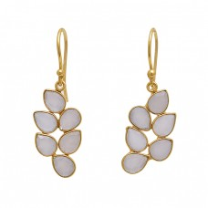 925 Sterling Silver Jewelry Pear Shape  Moonstone   Gemstone Gold Plated Earrings