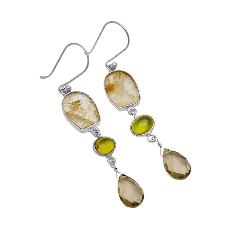 Golden Rutile Smoky Quartz Peridot Gemstone 925 Sterling Silver Handcraftted Gold Plated Dangle Earrings
