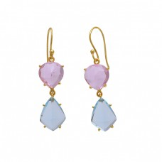 925 Sterling Silver Jewelry Heart Fancy Shape Quartz Topaz    Gemstone Gold Plated Earrings