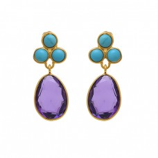 925 Sterling Silver Jewelry Round Oval  Shape  Turquoise Oval   Gemstone Gold Plated Earrings