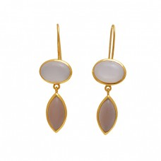 925 Sterling Silver Jewelry Oval Marquoise   Shape Moonstone Gemstone Gold Plated Earrings
