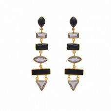 925 Sterling Silver Jewelry Marquoise Rectangle Triangle   Shape  Onyx  Quartz Gemstone Gold Plated Earrings