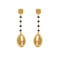 925 Sterling Silver Jewelry Round  Shape  Onyx Zicroina Gemstone Gold Plated Earrings
