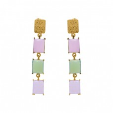 925 Sterling Silver Jewelry Rectangle  Shape Prehnite Chalcedony  Gemstone Gold Plated Earrings