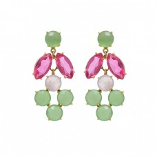 925 Sterling Silver Jewelry  Round  Marquoise  Shape Prehnite  Quartz Moonstone  Gemstone Gold Plated Earrings