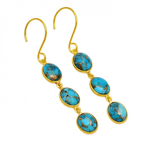 Cabochon Oval Blue Copper Turquoise Gemstone 925 Sterling Silver Gold Plated Earrings