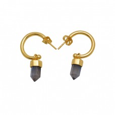 925 Sterling Silver Jewelry  Pencil Shape Labradorite   Gemstone Gold Plated Earrings