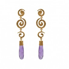 925 Sterling Silver Jewelry  Pencil Shape Amethyst   Gemstone Gold Plated Earrings