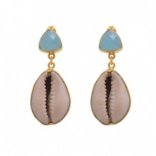 925 Sterling Silver Jewelry  Triangle  Shape Chalcedony   Gemstone Gold Plated Earrings