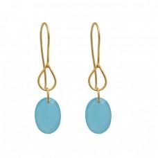 925 Sterling Silver Jewelry  Oval Shape Chalcedony   Gemstone Gold Plated Earrings