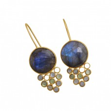 925 Sterling Silver Jewelry Round   Shape Labradorite  Moonstone Gemstone Gold Plated Earrings