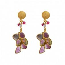 925 Sterling Silver Jewelry Fancy Round   Shape Tourmaline  Gemstone Gold Plated Earrings