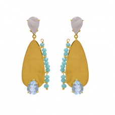 925 Sterling Silver Jewelry Pear Round  Shape Moonstone Topaz Chalcedony Gemstone Gold Plated Earrings