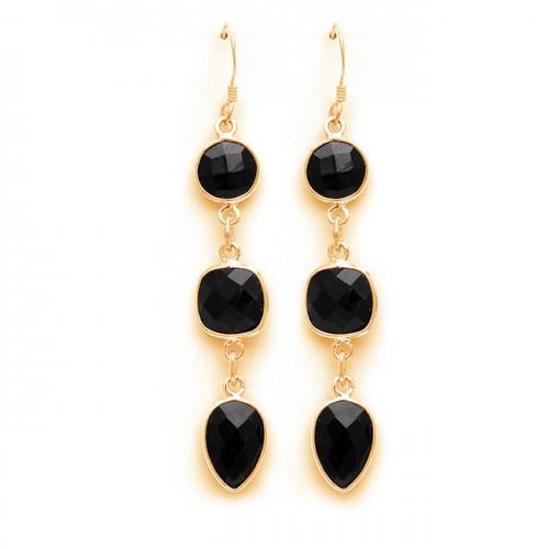 Bezel Setting Briolette Black Onyx Gemstone 925 Sterling Silver Dangle Earrings