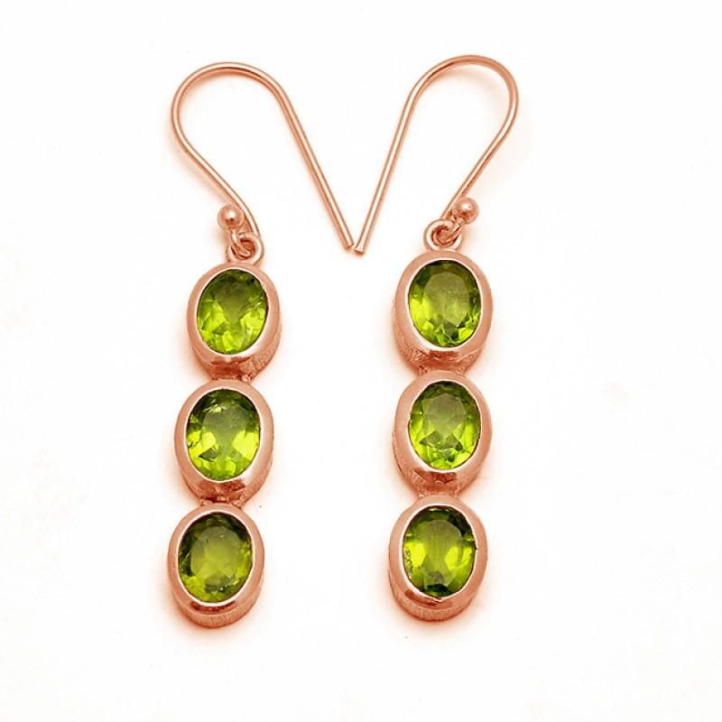 Peridot Oval Cut Gemstone Handmade 925 Sterling Silver Gold Plated Dangle Earrings