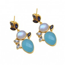 925 Sterling Silver Jewelry  Marquoise Oval  Shape  Gemstone Gold Plated Earrings