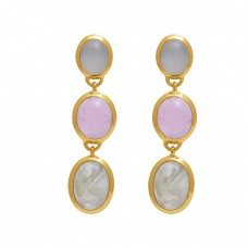 925 Sterling Silver Jewelry  Oval  Shape Prehnite  Chalcedony   Gemstone Gold Plated Earrings