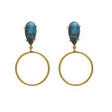 925 Sterling Silver Jewelry Pear Shape Turquoise  Gemstone Gold Plated Earrings