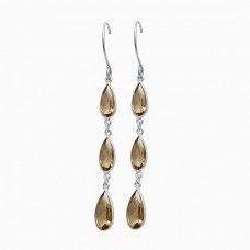 Pear Shape Smoky Quartz Gemstone Bezel Setting Gold Plated Dangle Earrings