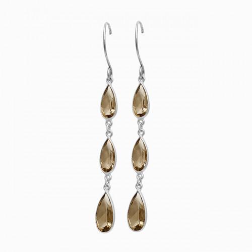 Pear Shape Smoky Quartz Gemstone Bezel Setting Gold Plated Dangle Earrings