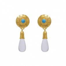 925 Sterling Silver Jewelry  Round Pear Gemstone  Turquoise Crystal   Gemstone Gold Plated Earrings