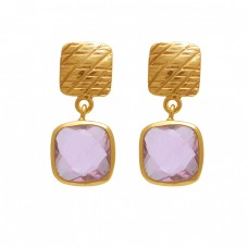 925 Sterling Silver Jewelry  Square  Shape Pink Quartz Gemstone Gold Plated Earrings