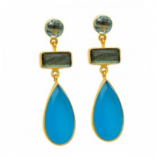 Labradorite Blue Topaz Chalcedony Gemstone Bezel Setting Gold Plated Dangle Stud Earrings