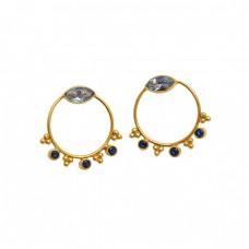 925 Sterling Silver Jewelry  Marquoise Round Shape Topaz Tanzanite  Gemstone Gold Plated Earrings