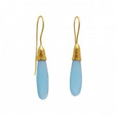 925 Sterling Silver Jewelry  Pear Shape Chalcedony Gemstone Gold Plated Earrings