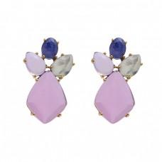 925 Sterling Silver Jewelry  Oval Pear Fancy  Shape Sapphire  Chalcedony Prehnite Gemstone Gold Plated Earrings