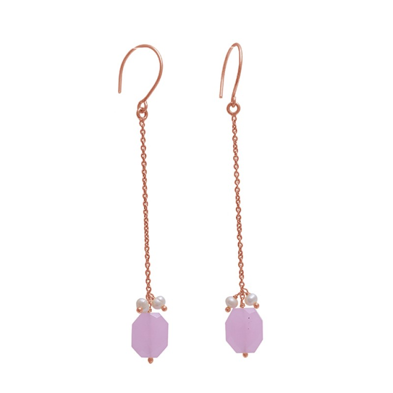 925 Sterling Silver Jewelry  Round Fancy  Shape Pearl  Chalcedony Gemstone Gold Plated Earrings