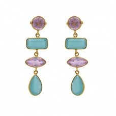 925 Sterling Silver Jewelry Round Rectangle Marquoise Pear  Shape Quartz Chalcedony Gemstone Gold Plated Earrings