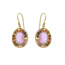 925 Sterling Silver Jewelry  Oval Round Shape Chalcedony Tourmaline  Gemstone Gold Plated Earrings