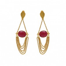 925 Sterling Silver Jewelry  Oval Shape Ruby  Gemstone Gold Plated Earrings