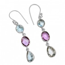 Blue Topaz Amethyst Gemstone Handcrafted 925 Sterling Silver Gold Plated Dangle Earrings
