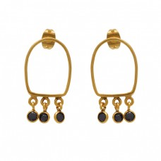 925 Sterling Silver Jewelry Round  Shape Black Onyx Gemstone Gold Plated Earrings