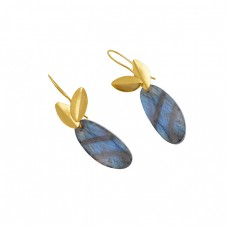 925 Sterling Silver Jewelry Oval Shape Labradorite  Gemstone Gold Plated Earrings