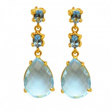 Sterling Silver Prong Setting Blue Topaz Gold Plated Stud Dangle Earrings
