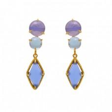 925 Sterling Silver Jewelry  Round Fancy Shape Moonstone Gemstone Gold Plated Earrings