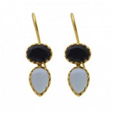 925 Sterling Silver Jewelry  Oval Pear Shape Onyx Topaz  Gemstone Gold Plated Earrings
