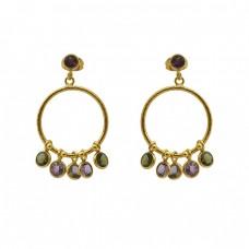 Multi Color Gemstone 925 Sterling Silver Gold Plated Designer Earring