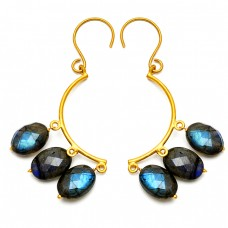 Oval Briolette Labradorite Gemstone 925 Sterling Silver Gold Plated Dangling Earrings