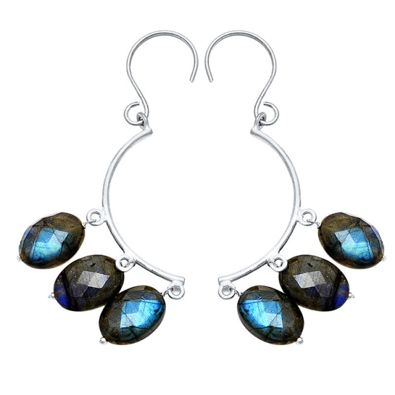 Oval Briolette Labradorite Gemstone 925 Sterling Silver Gold Plated Dangling Earrings
