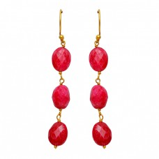 Briolette Oval Shape Ruby Gemstone 925 Sterling Silver Dangle Gold Plated Earrings