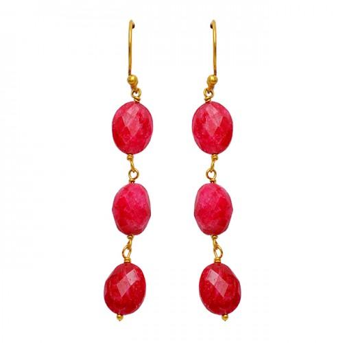 Briolette Oval Shape Ruby Gemstone 925 Sterling Silver Dangle Gold Plated Earrings