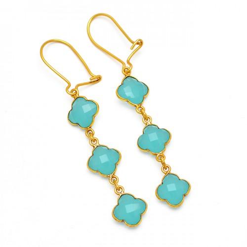 Flower Carved Shape Chalcedony Gemstone 925 Sterling Silver Gold Plated Hoop Earrings