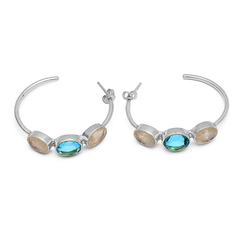 Rainbow Blue Topaz Oval Shape Gemstone Handmade 925 Sterling Silver Hoop Earrings Jewelry