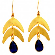 Lapis Lazuli Gemstone Handcrafted Designer 925 Sterling Silver Gold Plated Earrings