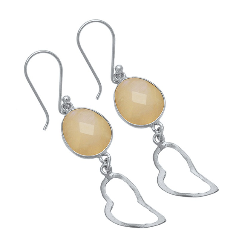 Dangling Briolette Oval Shape Gemstone 925 Sterling Silver Gold Plated Earrings